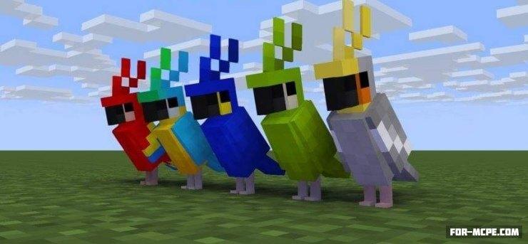 Попугаи в Minecraft PE 1.2.10